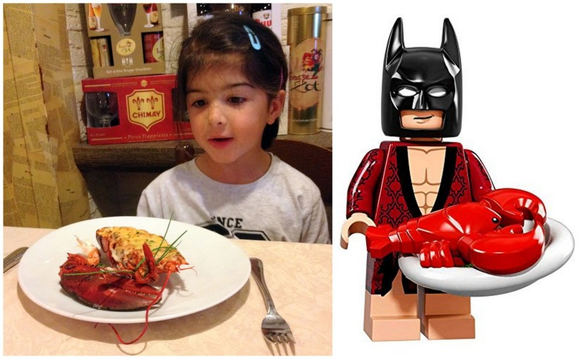 A little LEGO Batman fan being served her first Lobster Thermidor