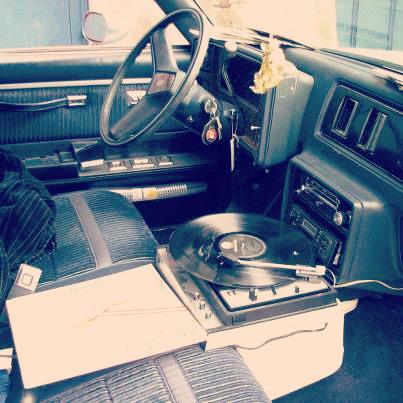 Vinyl player in a car