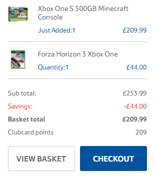 Tesco Xbox One S Basket