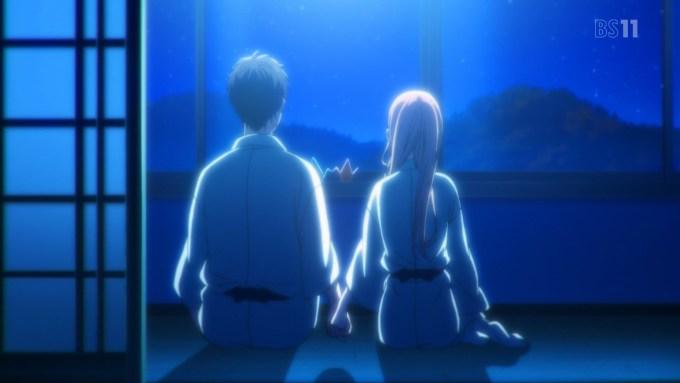 月を見る根島由佳吏と真田莉々奈