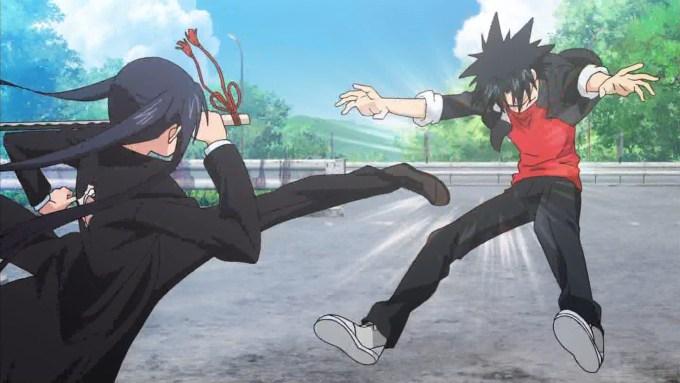 近衛刀太を蹴る時坂九郎丸