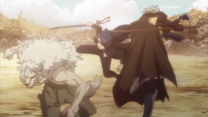 時坂九郎丸と人狼と南雲士音の戦闘シーン