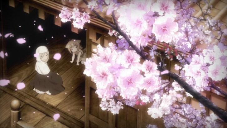 桜を見る八百比丘尼と柚