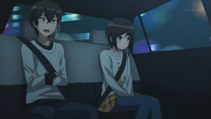 タクシー内で話す羽島伊月と羽島千尋