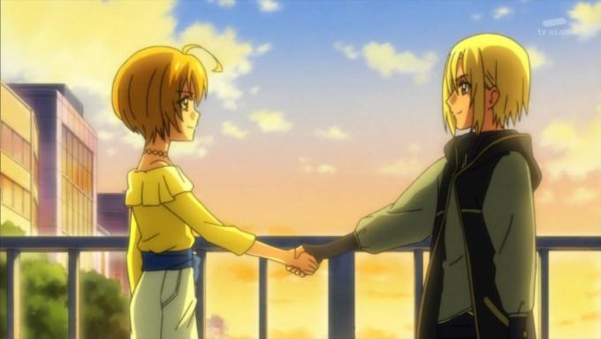 輝木ほまれと若宮アンリの握手