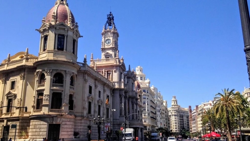 Beautiful buildings on a sunny day in Valencia