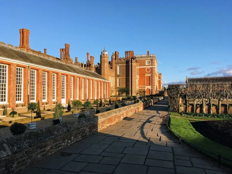 Exterior of Hampton court palace in London