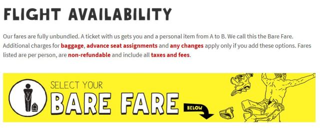 Spirit Airlines Bare Fare What does it include