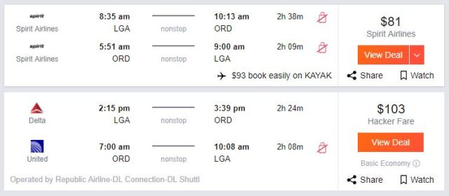 Spirit is one of the cheapest options on flights from new York to Chicago