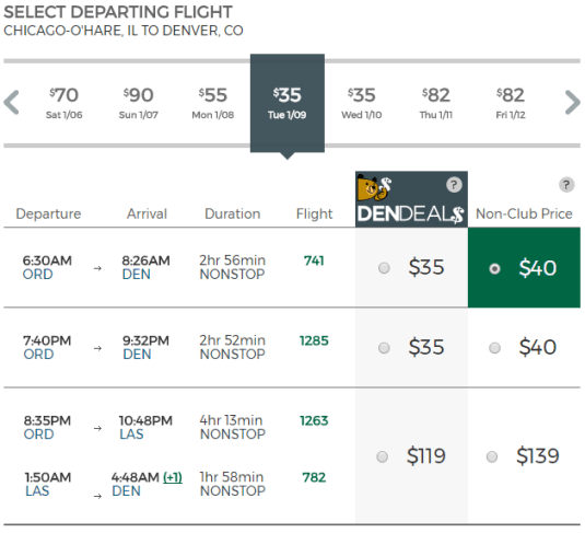 Frontier Airlines Prices From Chicago to Denver