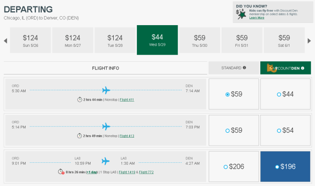 Departing Flight from Chicago to Denver for $44