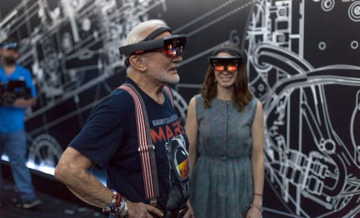 Buzz Aldrin and Erisa Hines try Microsoft Hololens