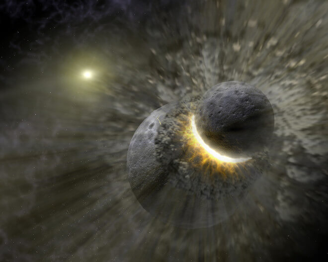 This artist concept illustrates how a massive collision of objects, perhaps as large as the planet Pluto, smashed together to create the dust ring around the nearby star Vega. New observations from NASA's Spitzer Space Telescope indicate the collision took place within the last one million years. Astronomers think that embryonic planets smashed together, shattered into pieces, and repeatedly crashed into other fragments to create ever finer debris.In the image, a collision is seen between massive objects that measured up to 2,000 kilometers (about 1,200 miles) in diameter. Scientists say the big collision initiated subsequent collisions that created dust particles around the star that were a few microns in size. Vega's intense light blew these fine particles to larger distances from the star, and also warmed them to emit heat radiation that can be detected by Spitzer's infrared detectors.