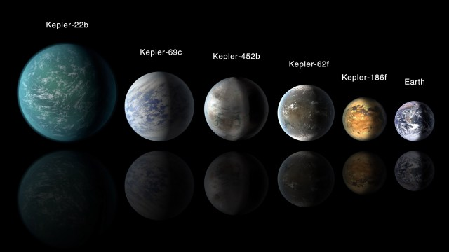 """The Earth alongside """"Super-Earth-"""" sized exoplanets identified with the Kepler Space Telescope. (NASA Ames / JPL-Caltech)"""