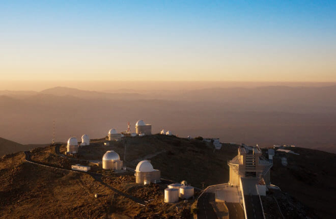 A ring of telescopes at ESO's La Silla observatory. La Silla, in the southern part of the Atacama desert, 600 km north of Santiago de Chile, was ESO's first observation site. The telescopes are 2400 metres above sea level, providing excellent observing conditions. ESO operates the 3.6-m telescope, the New Technology Telescope (NTT), and the 2.2-m Max-Planck-ESO telescope at La Silla. La Silla also hosts national telescopes, such as the 1.2-m Swiss Telescope and the 1.5-m Danish Telescope.