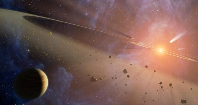 Artist illustration of an exoplanet and a debris disc orbiting their host star. (NASA)
