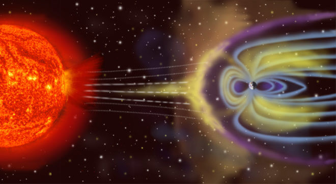 Illustration of solar wind arriving at Earth's magnetosphere