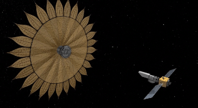 An artist's depiction of a sunflower-shaped starshade that could help space telescopes find and characterize alien planets. Credit: NASA/JPL/Caltec