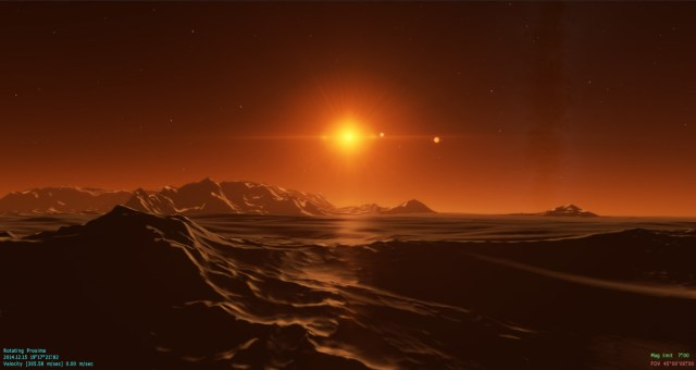 Artist rendering of a cold desert on a planet orbiting Proxima Centauri. (Vladimir Romanyuk, Space Engine)