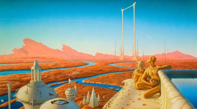 "A scene from ""The Martian Chronicles,"" before settlers from Earth arrived and renamed pastoral lands ""Detroit II"" and ""Aluminum Town."""