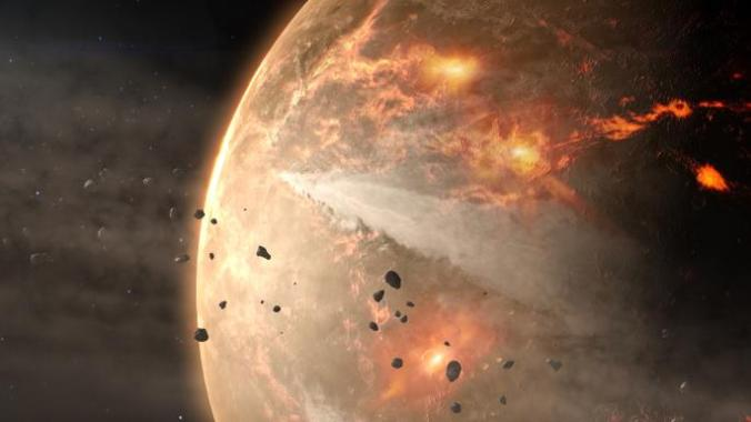 The scientific lessons learned over the centuries about the geological, chemical and later biological dynamics of Earth are beginning to enter the discussion of exoplanets, and especially which might be conducive to life. This is an artist's view of the young Earth under bombardment by asteroids, one of many periods with conditions likely to have parallels in other solar systems. (NASA's Goddard Space Flight Center Conceptual Image Lab)