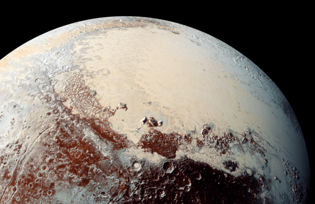 Pluto image taken by Hubble Space Telescope (above) and close up taken by New Horizons in 2015. (NASA)