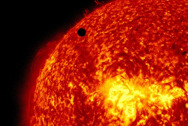 actual image of venus crossing in front of the sun. Exoplanets will not be imaged like this in our lifetimes, but this is the goal.