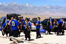 UCLA Kyodo Taiko starts gearing up for their first song at the 44th Annual Manzanar Pilgrimage