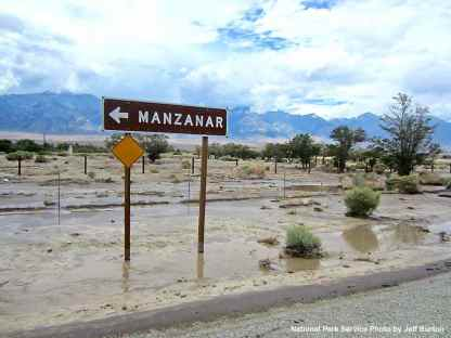 Near Old Highway 395. The site of Downtown Manzanar flooded