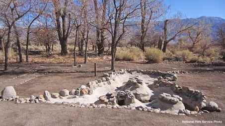 Excavated/rehabilitated Arai Fish Pond at Block 33, Manzanar National Historic Site.