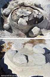 Island in the Arai Fish Pond at Block 33, Manzanar National Historic Site, before and after excavation and restoration.