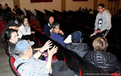 One of the small group discussions during the 2015 Manzanar At Dusk program.