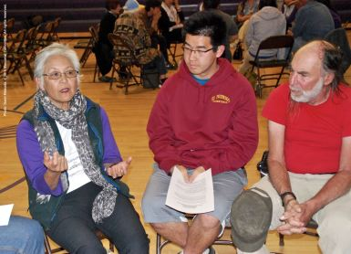 One of the small group discussions during the 2015 Manzanar At Dusk program. Dr. Satsuki Ina, the keynote speaker earlier in the day at the 46th Annual Manzanar Pilgrimage, is on the left.