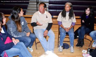 One of the small group discussions during the 2015 Manzanar At Dusk program. That's Manzanar Committee member Wendi Yamashita (right).