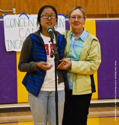 UCSD Nikkei Student Union member Rena Ogino (left) and Susanne Norton La Faver, shown here during the open mic portion of the 2015 Manzanar At Dusk program.
