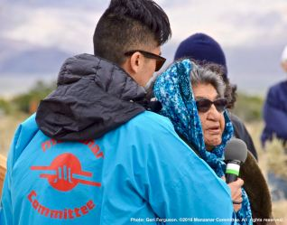 Charlotte Bacoch, Elder, Big PIne Paiute Tribe of the Owens Valley. welcomed Pilgrimage participants to their ancestral lands.