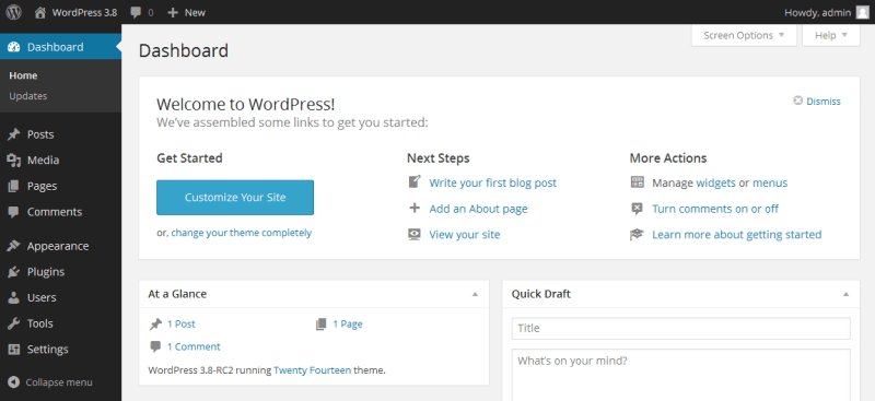 Maomaochia wordpress default dashboard