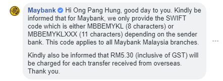 maybank swift code MBBEMYKL or MBBEMYKLXXX
