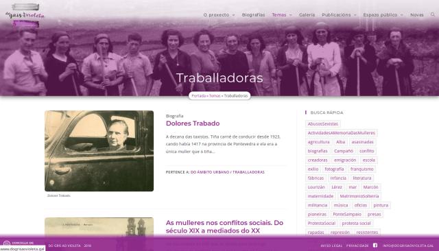 Sección Traballadoras da web DoGrisAoVioleta.gal