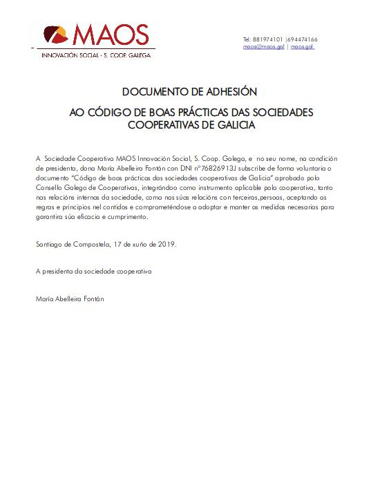 Documento de adhesión de MAOS ao Código de Boas Prácticas das Sociedades Cooperativas de Galicia.