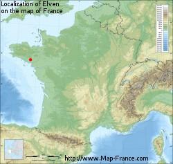 ELVEN Map of Elven 56250 France