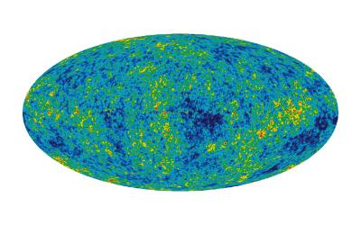 Gambar 4. Bayangkan anda di dalam sebuah ruangan berbentuk bola dan menggambar di dinding bagian dalam ruangan tersebut. Dinding kemudian dibentang menjadi 2 dimensi. Beginilah Satelit COBE dan WMAP mendeteksi CMB kesegala arah dan kemudian memetakannya dalam 2 dimensi.  Atas: Hasil pemetaan CMB oleh Satelit COBE. Bawah: Hasil pemetaan CMB oleh Satelit WMAP. Terlihat peningkatan kualitas dan akurasi gambar. Bagian berwarna merah menunjukkan titik temperatur tertinggi, sementara yang berwarna biru menunjukkan titik temperatur terendah.