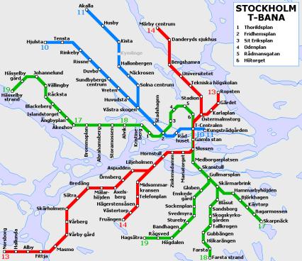Tunnelbana: Stockholm metro map, Sweden