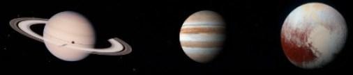 ilustração de saturno, júpiter e plutão juntos