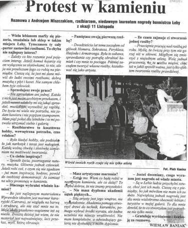 """Wiesław Baniak: """"Protest w kamieniu"""", Głos Pomorza nr 281 z dn. 02.12.1999 r., str.3"""