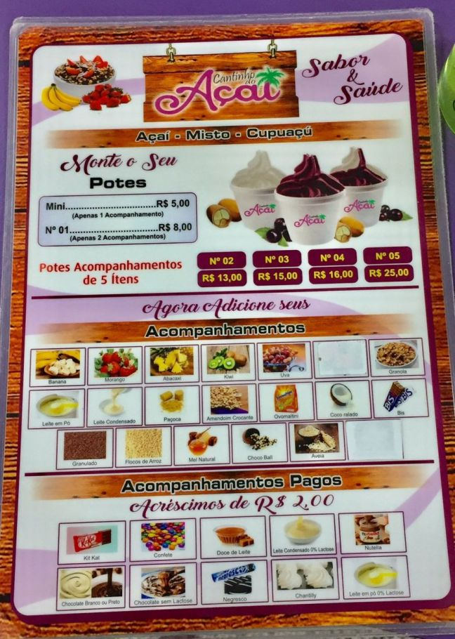 cantinho do açaí criciuma menu