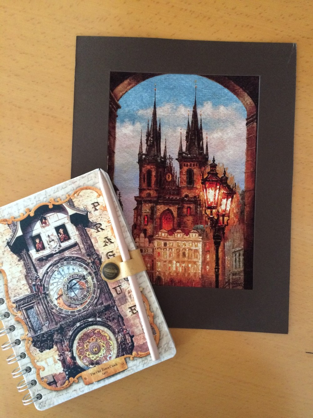 Offbeat Prague: notebook and painting from Havelska souvenir market