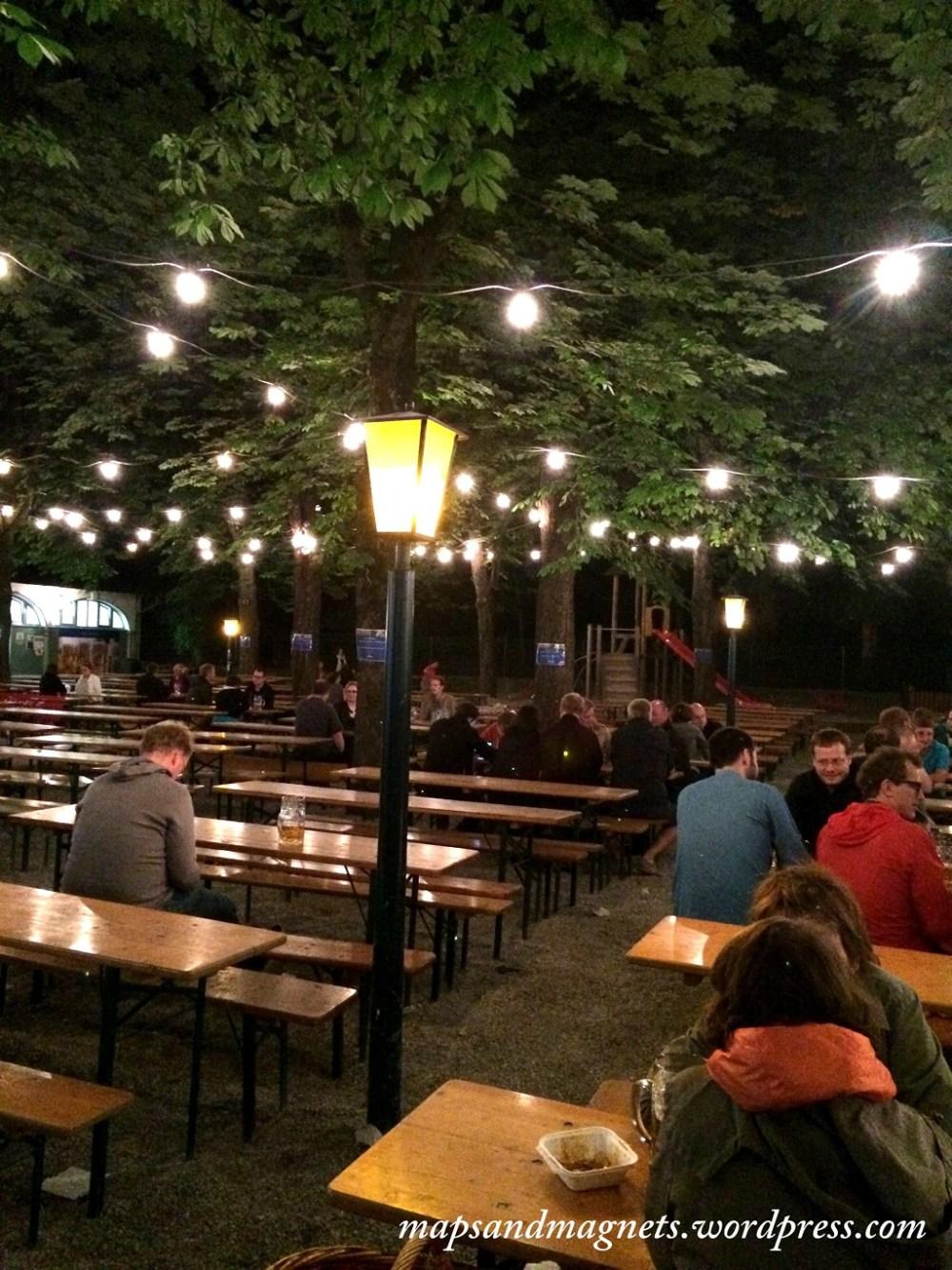 Offbeat Munich: outdoor section of Hofbraukeller beergarden at night