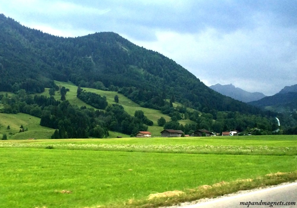 Driving through German Bavarian Alps on a day trip from Munich
