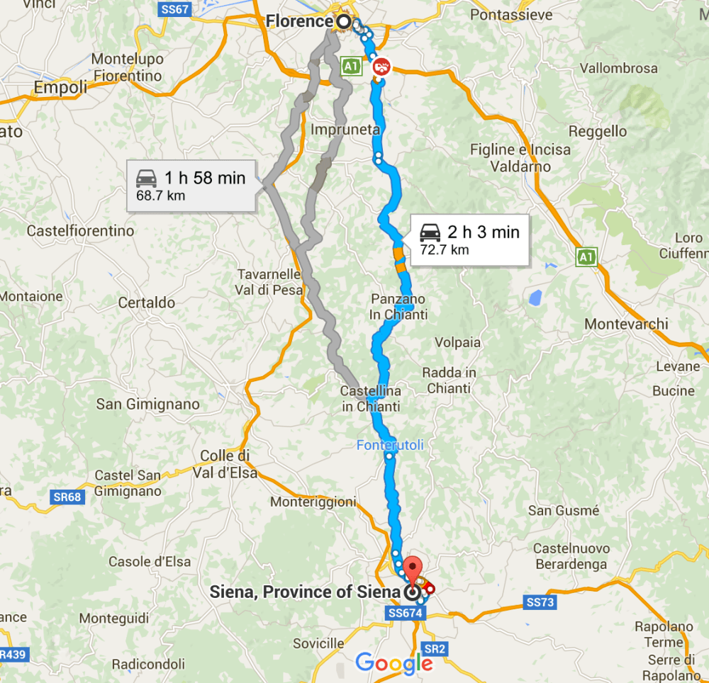 Driving directions Florence to Siena